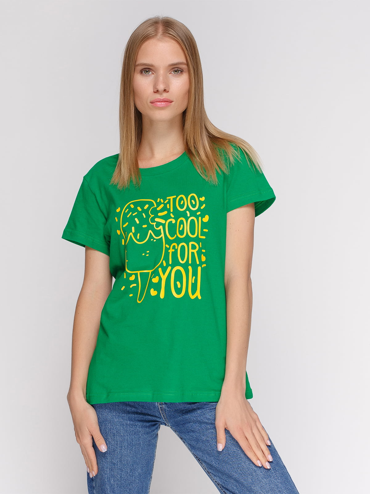 Футболка зелена з принтом | 4578110