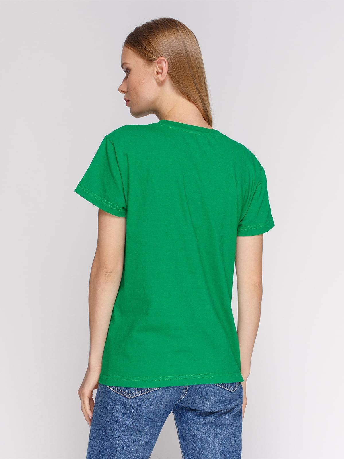 Футболка зеленая с принтом | 4578700 | фото 2
