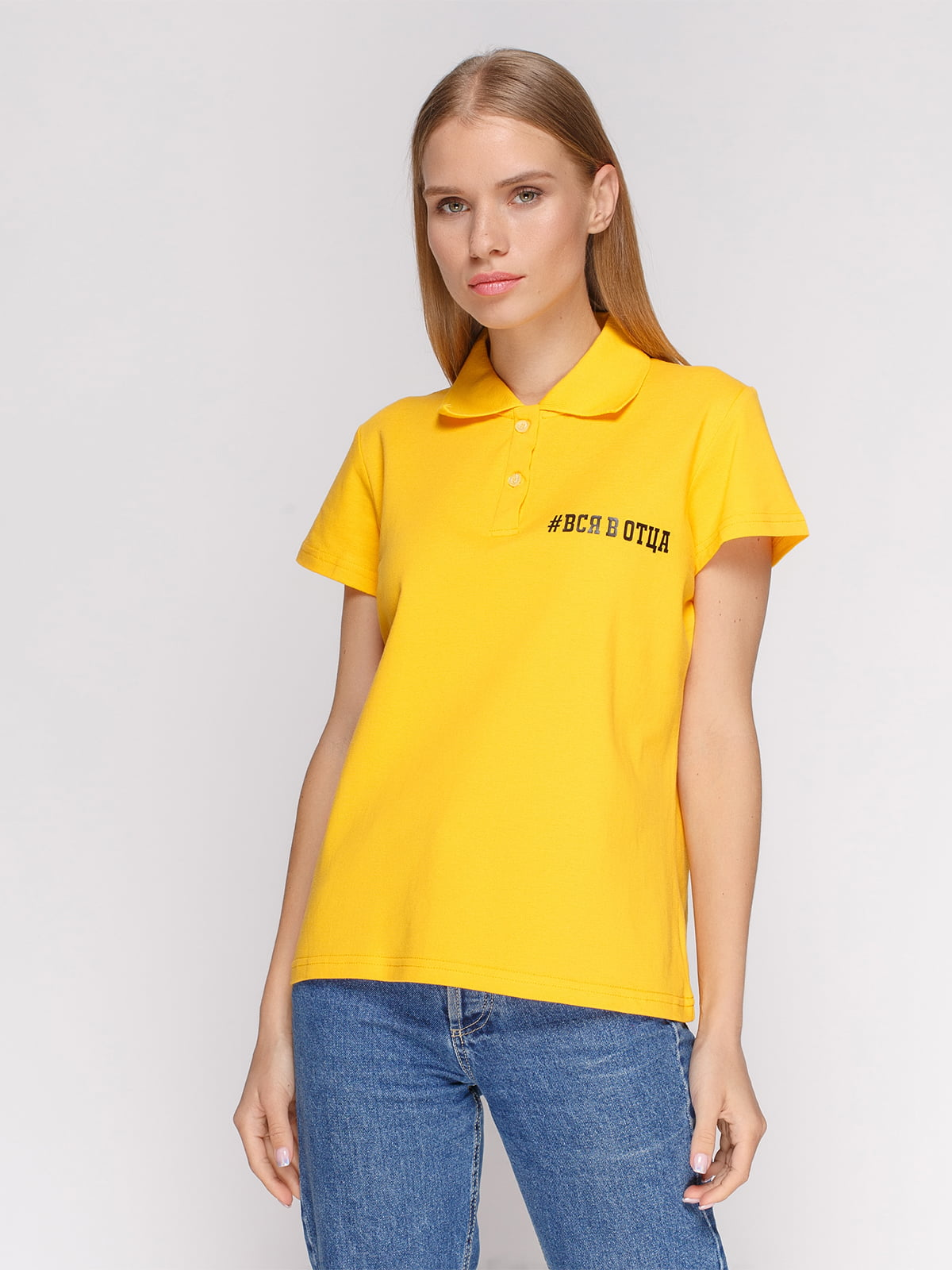 Футболка-поло жовта з принтом | 4578611