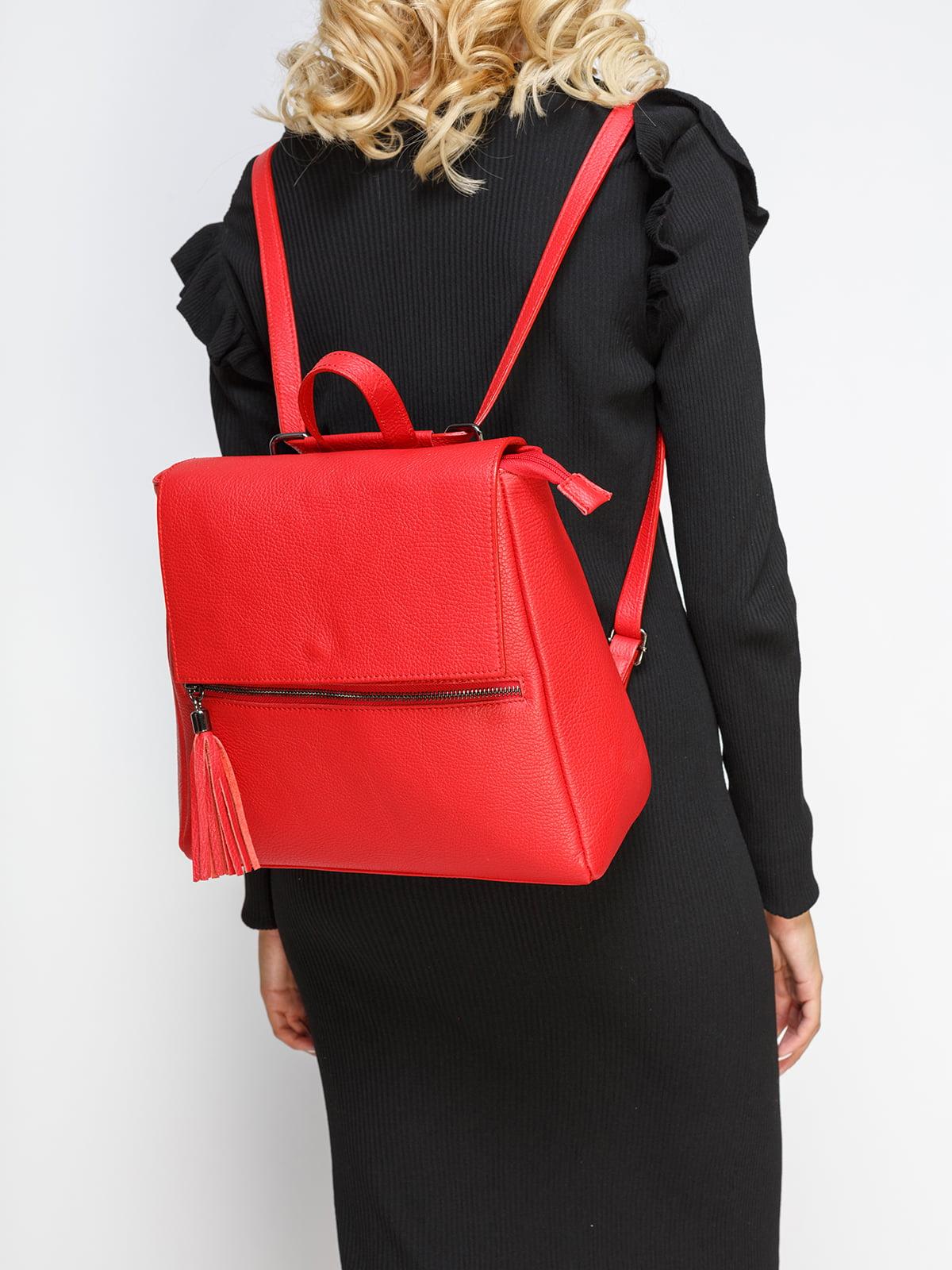 Рюкзак з блискавкою і китицею, червоного кольору | 4577628