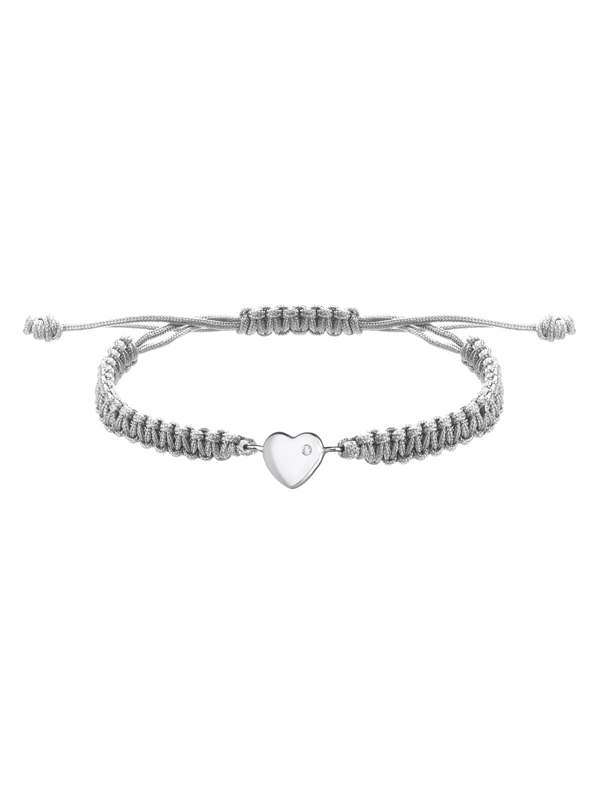 Браслет плетеный с серебряным украшением «Сердце малое» | 4588897