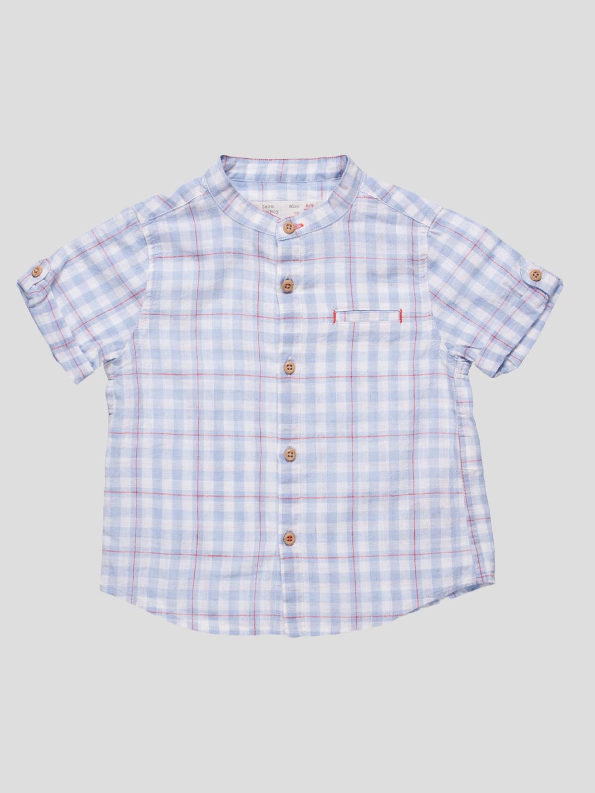 Рубашка голубая в клетку   4521166