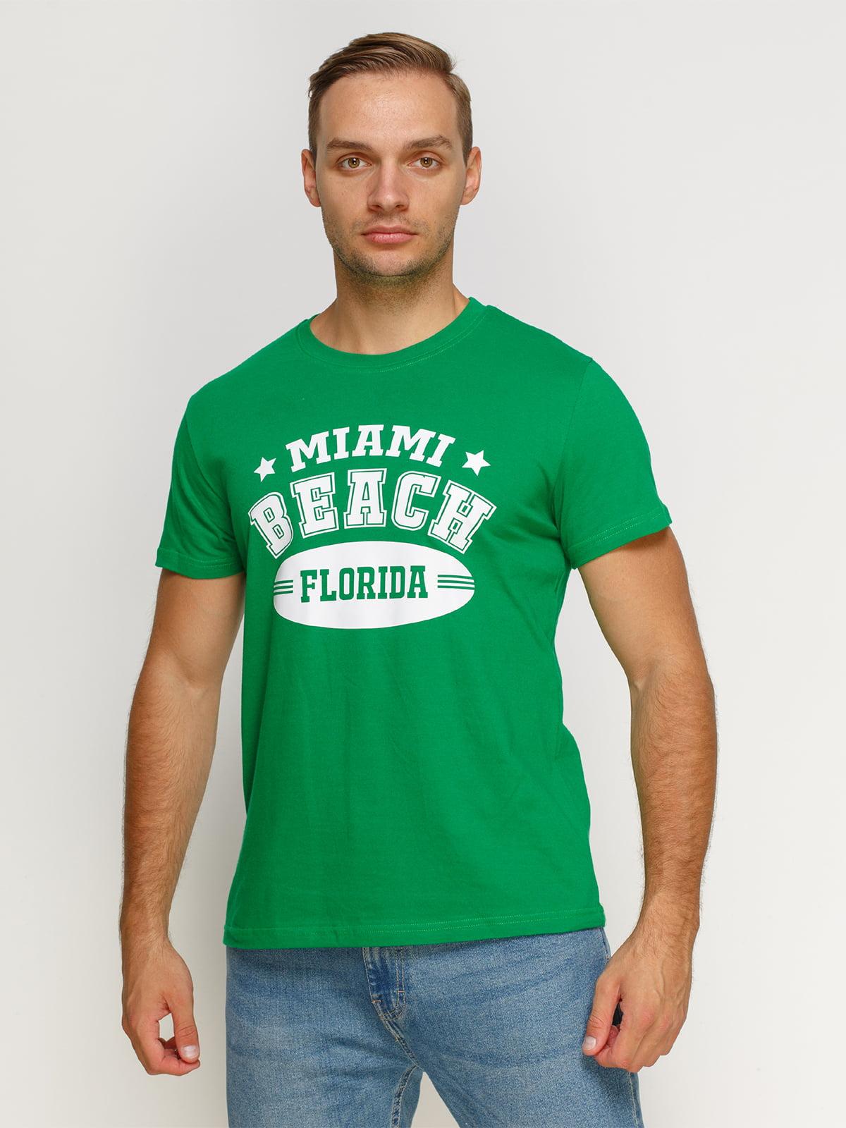 Футболка зеленая с принтом | 4577970