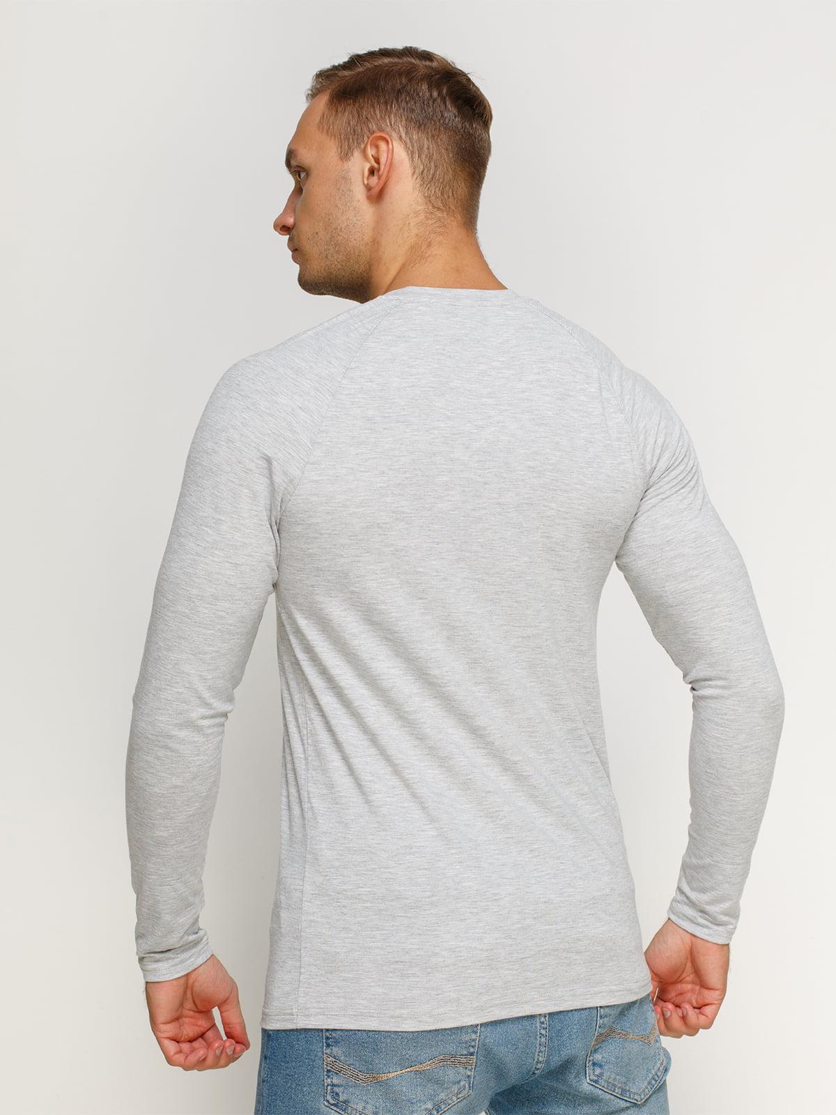Лонгслив серый меланжевый с принтом | 4578626 | фото 2