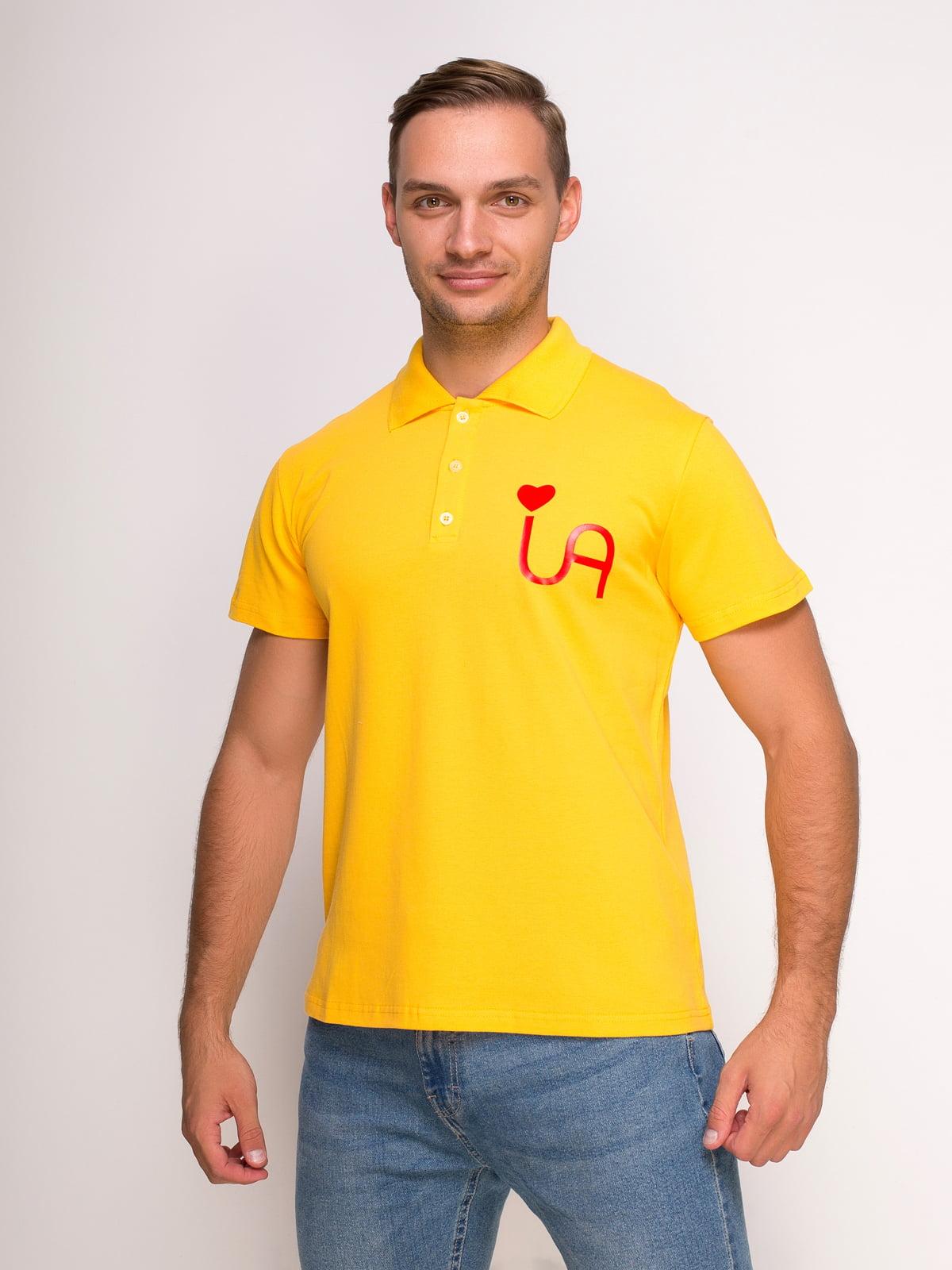Футболка-поло желтая с принтом | 4583040