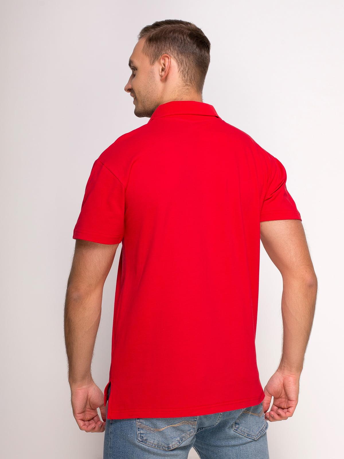 Футболка-поло красная с принтом   4583037   фото 2