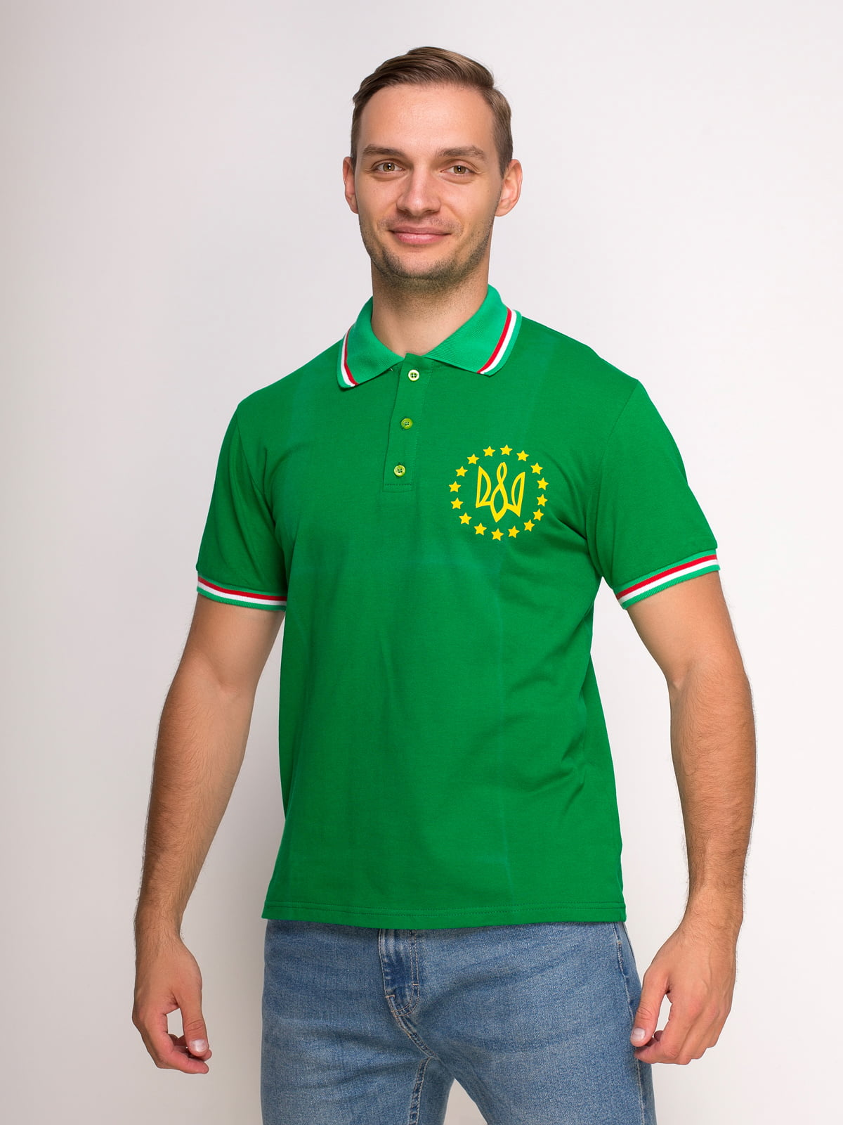 Футболка-поло зелена з принтом | 4583045