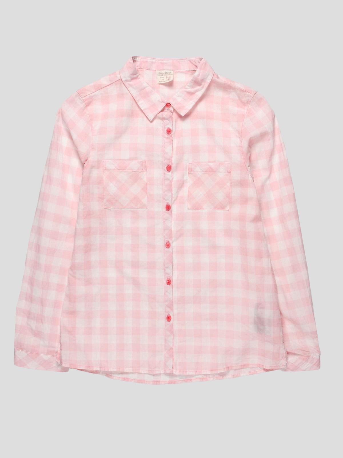 Рубашка розовая в клетку   4518908