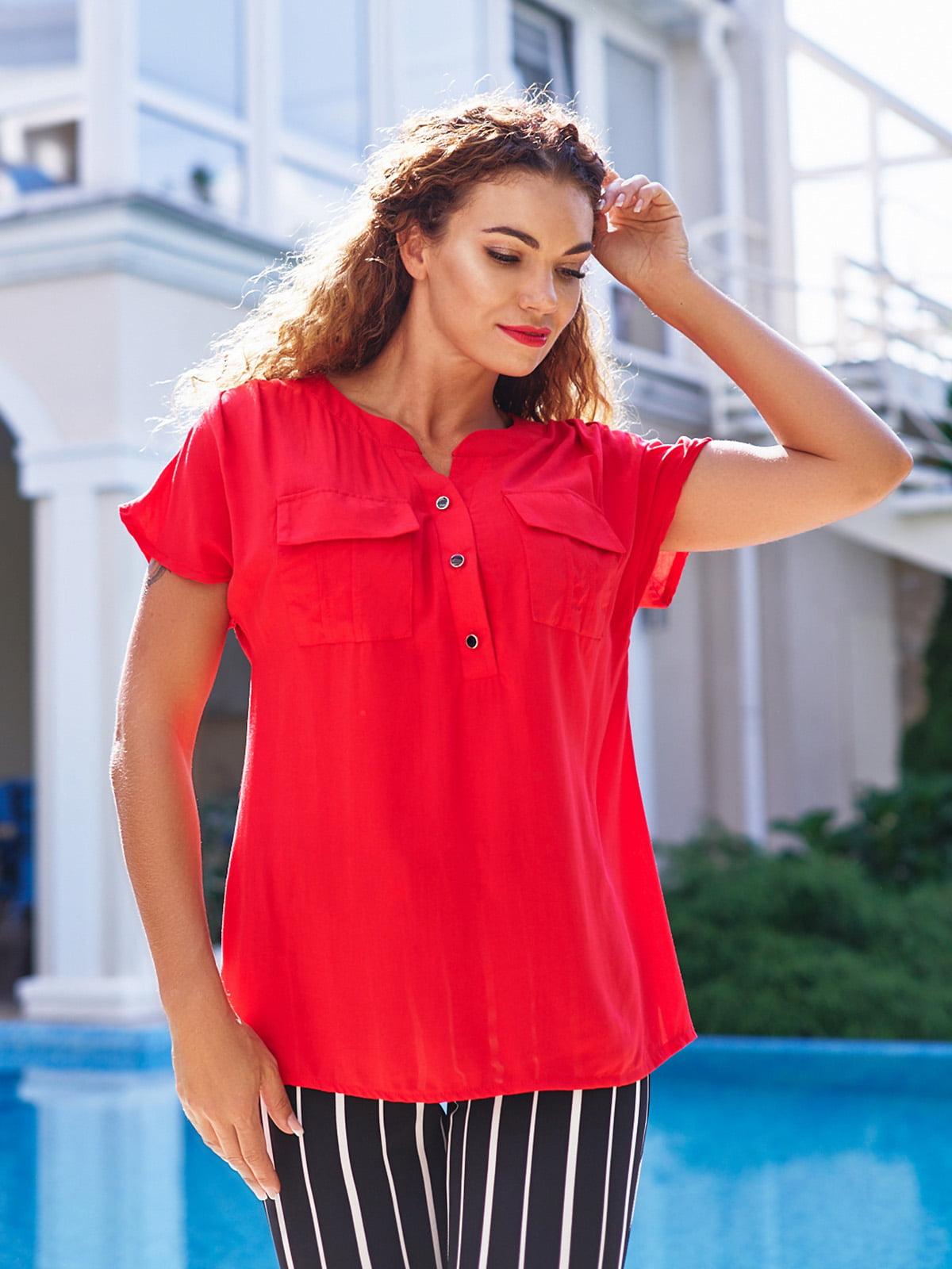 Блуза червона з легкого штапелю   4363634