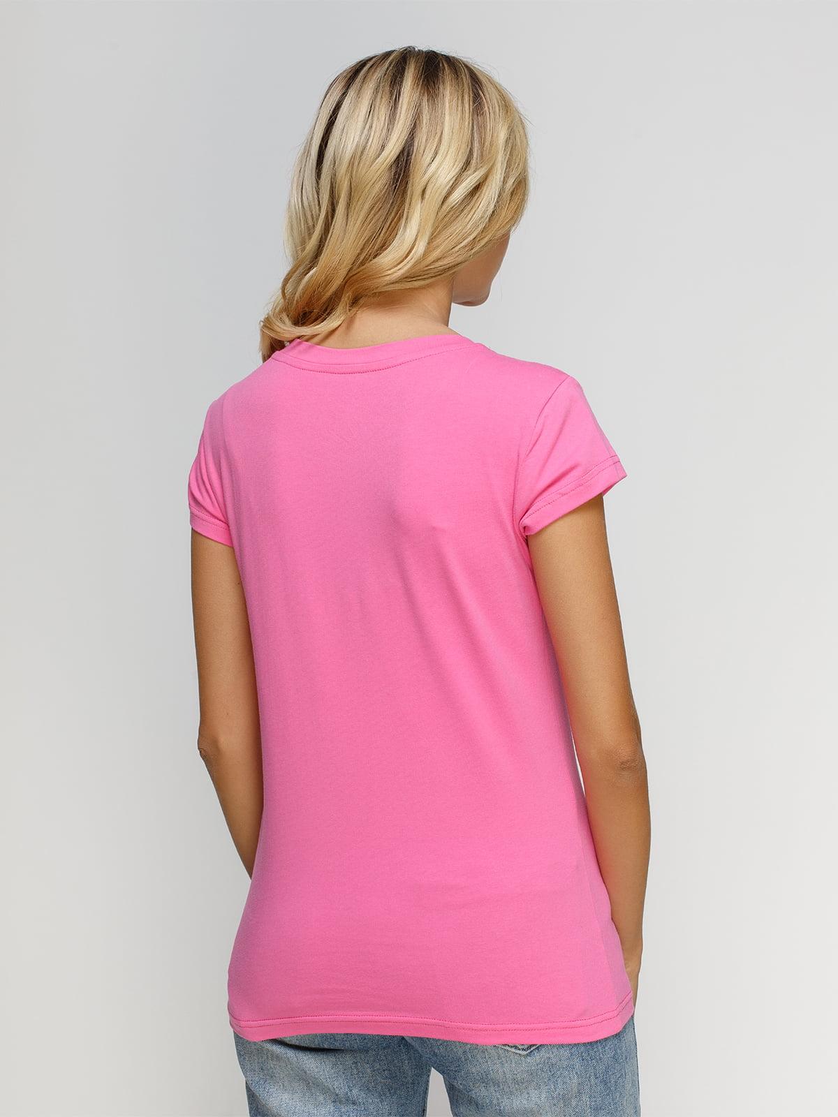 Футболка розовая с принтом | 4590789 | фото 2
