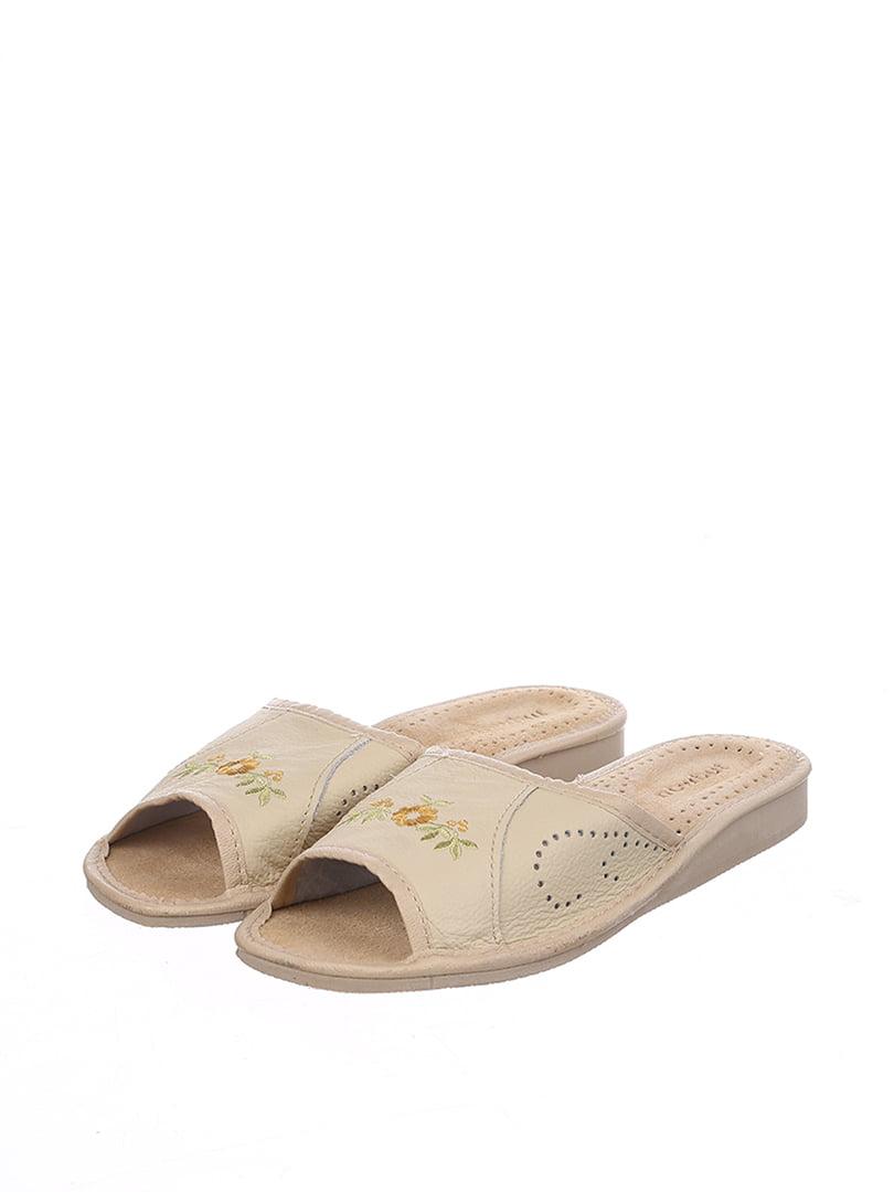 Тапочки бежевые с вышивкой | 4599433