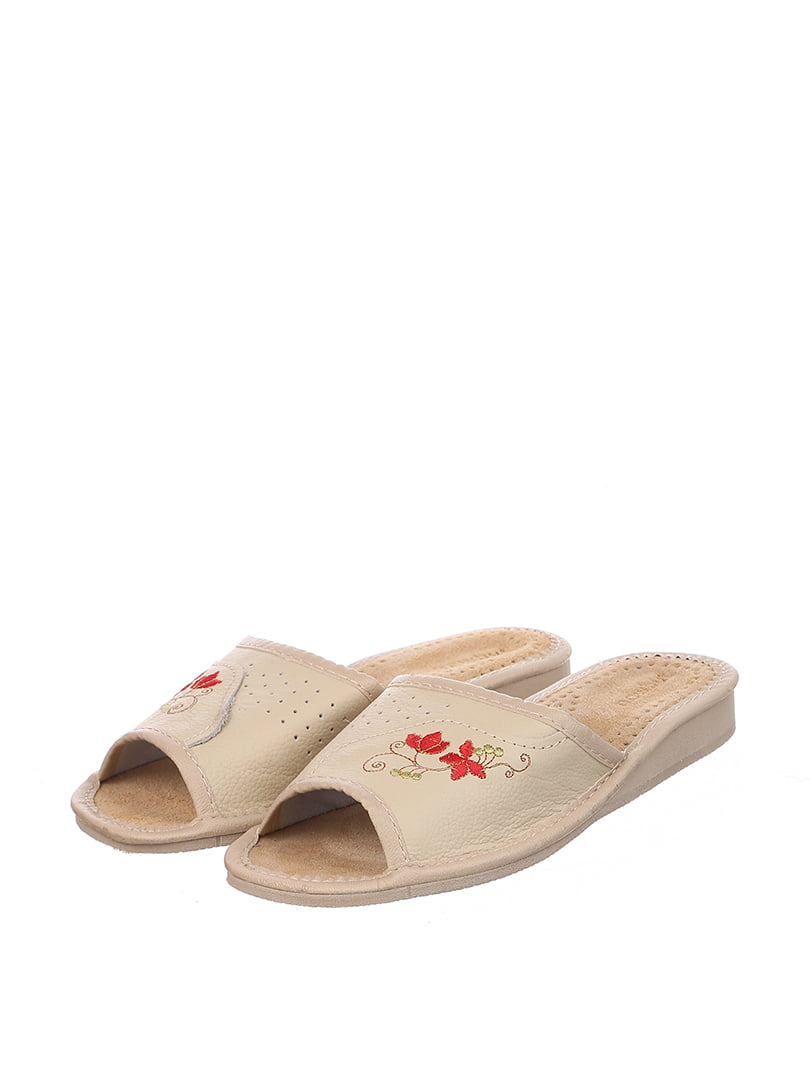 Тапочки бежевые с вышивкой | 4599437