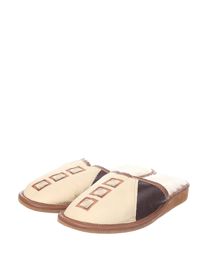 Тапочки бежево-коричневые | 4599531