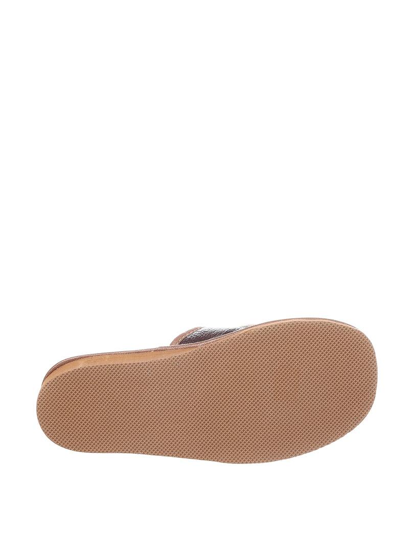 Тапочки бежево-коричневые | 4599531 | фото 3