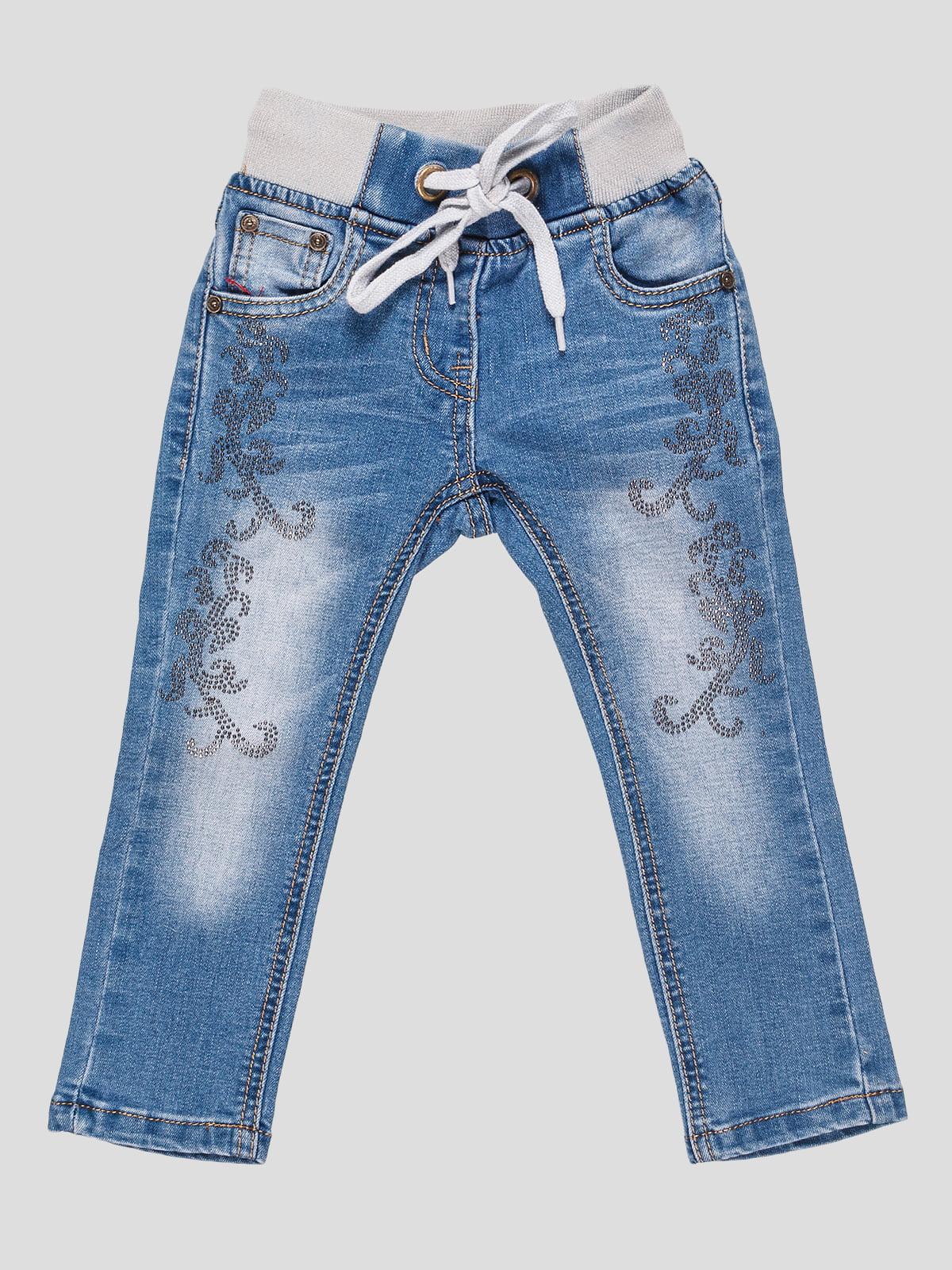 Джинси сині з декором | 4587865