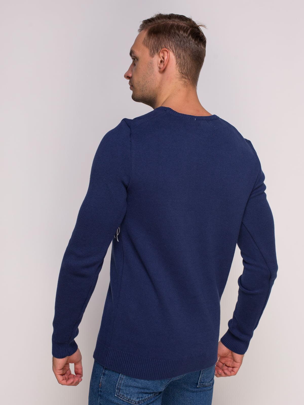 Джемпер синий с принтом | 4495378 | фото 2