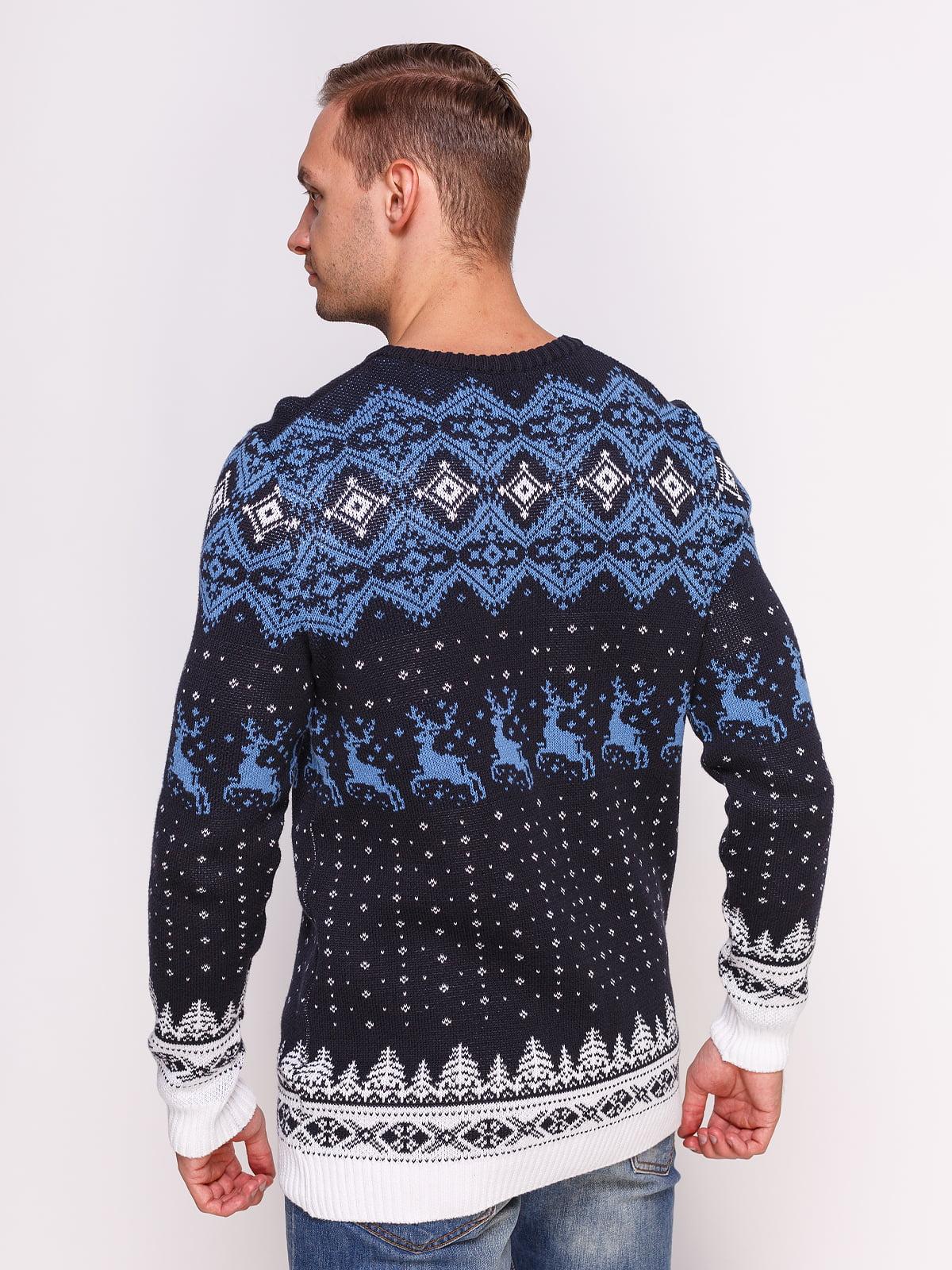 Джемпер темно-синій в принт | 4495556 | фото 2