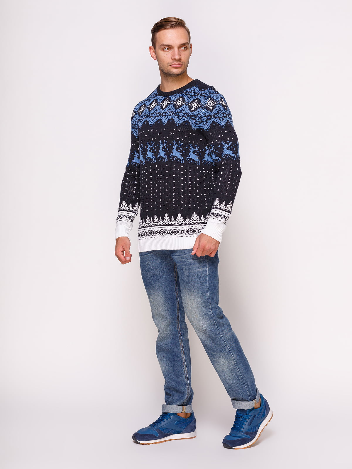 Джемпер темно-синій в принт | 4495556 | фото 3