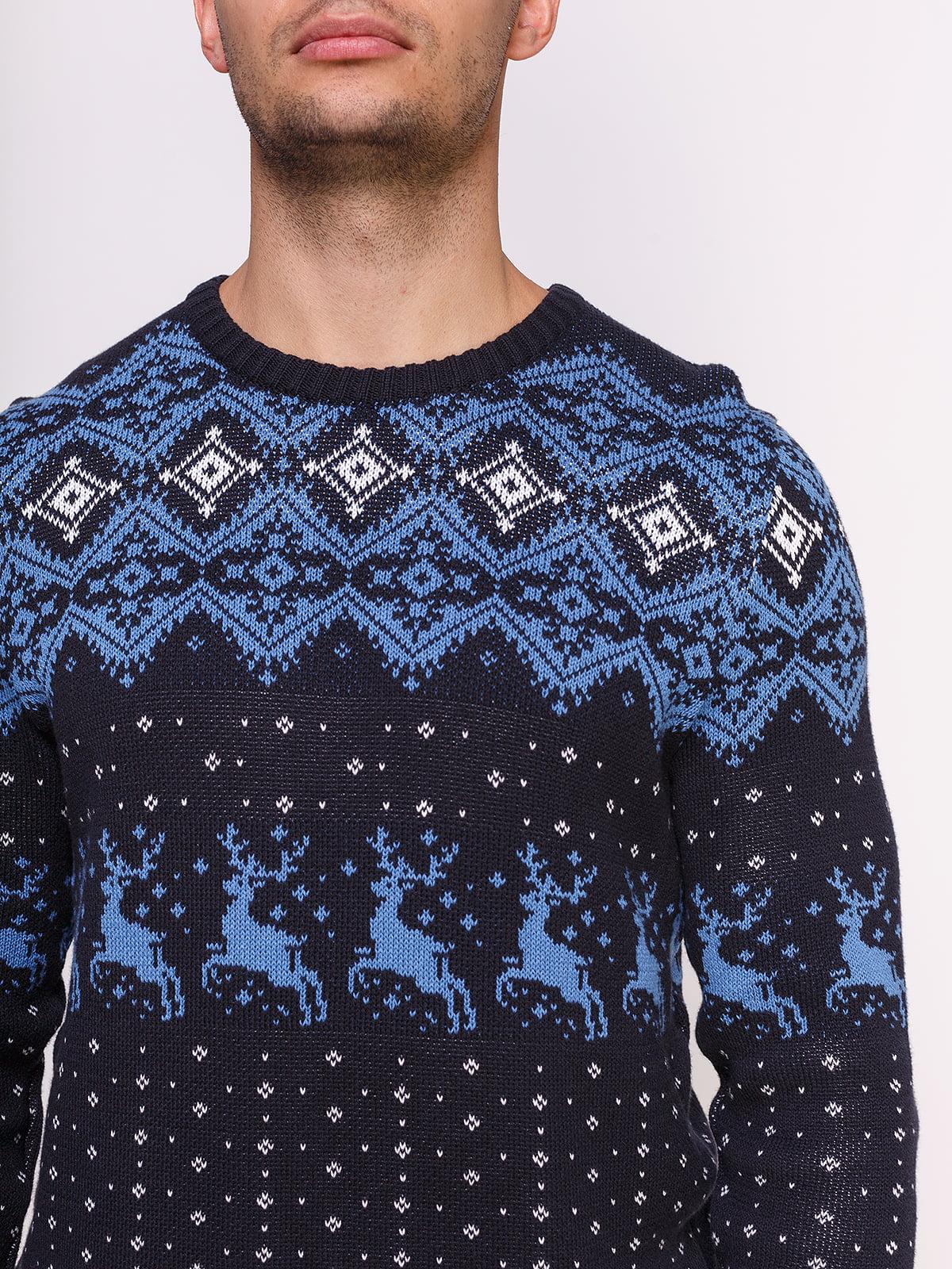 Джемпер темно-синій в принт | 4495556 | фото 4