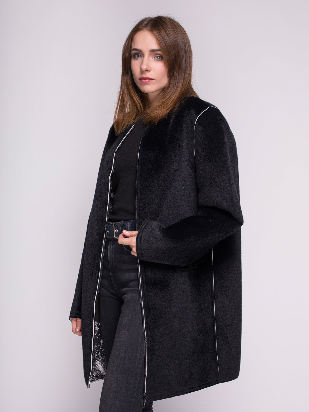 Пальто черное в принт | 4456346 | фото 5