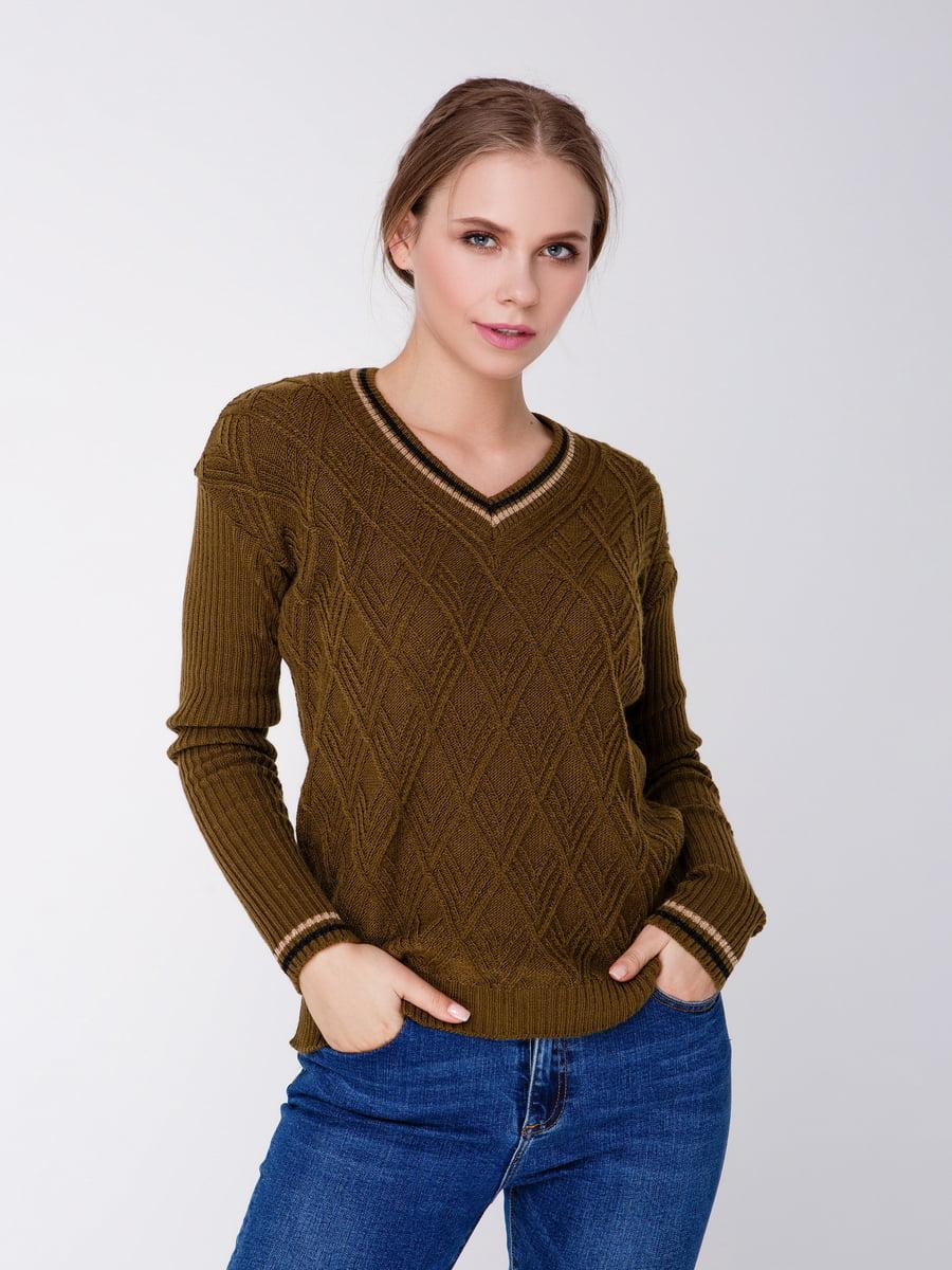 Пуловер кольору хакі | 4519951