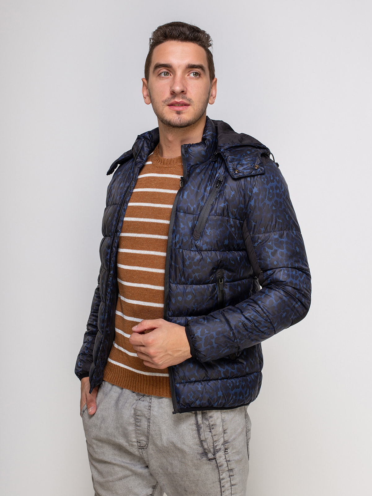 Куртка синяя в принт | 4512906