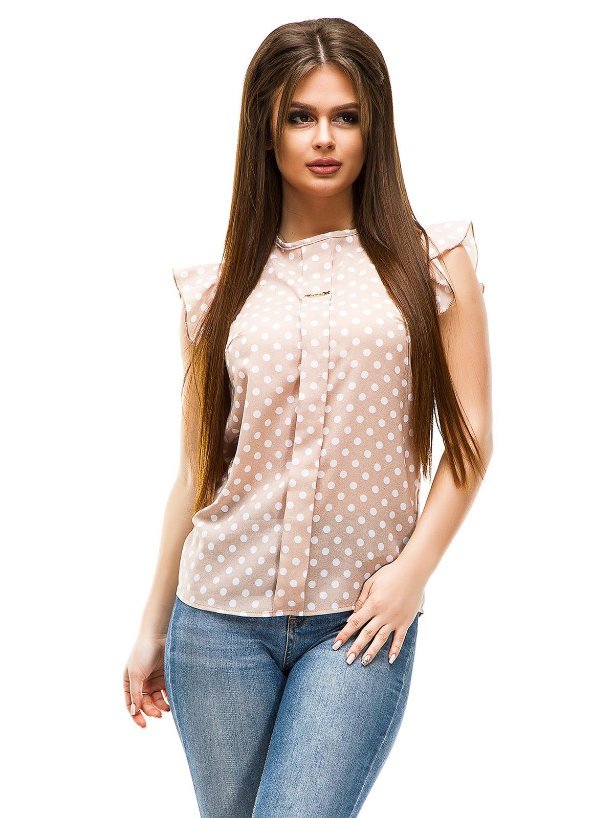 Блуза бежева в горошок | 4613767