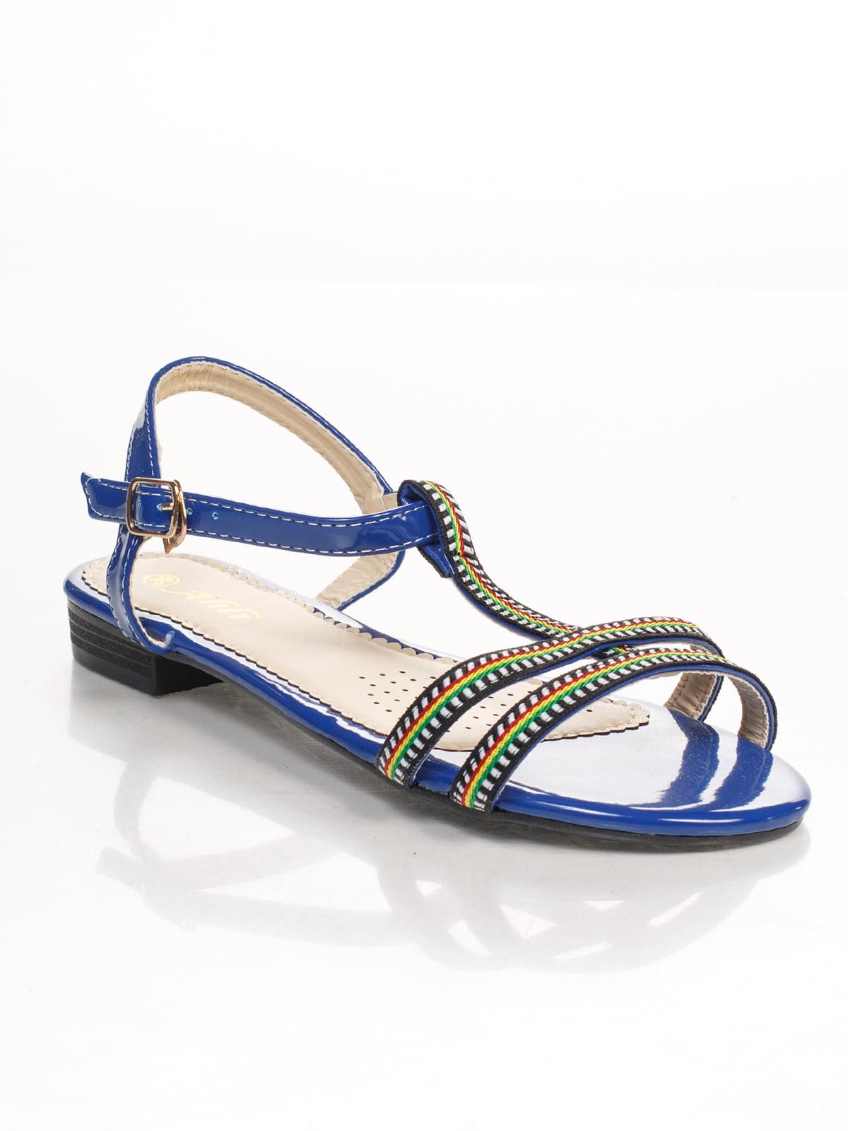 Сандалии синие с вышивкой | 4605216