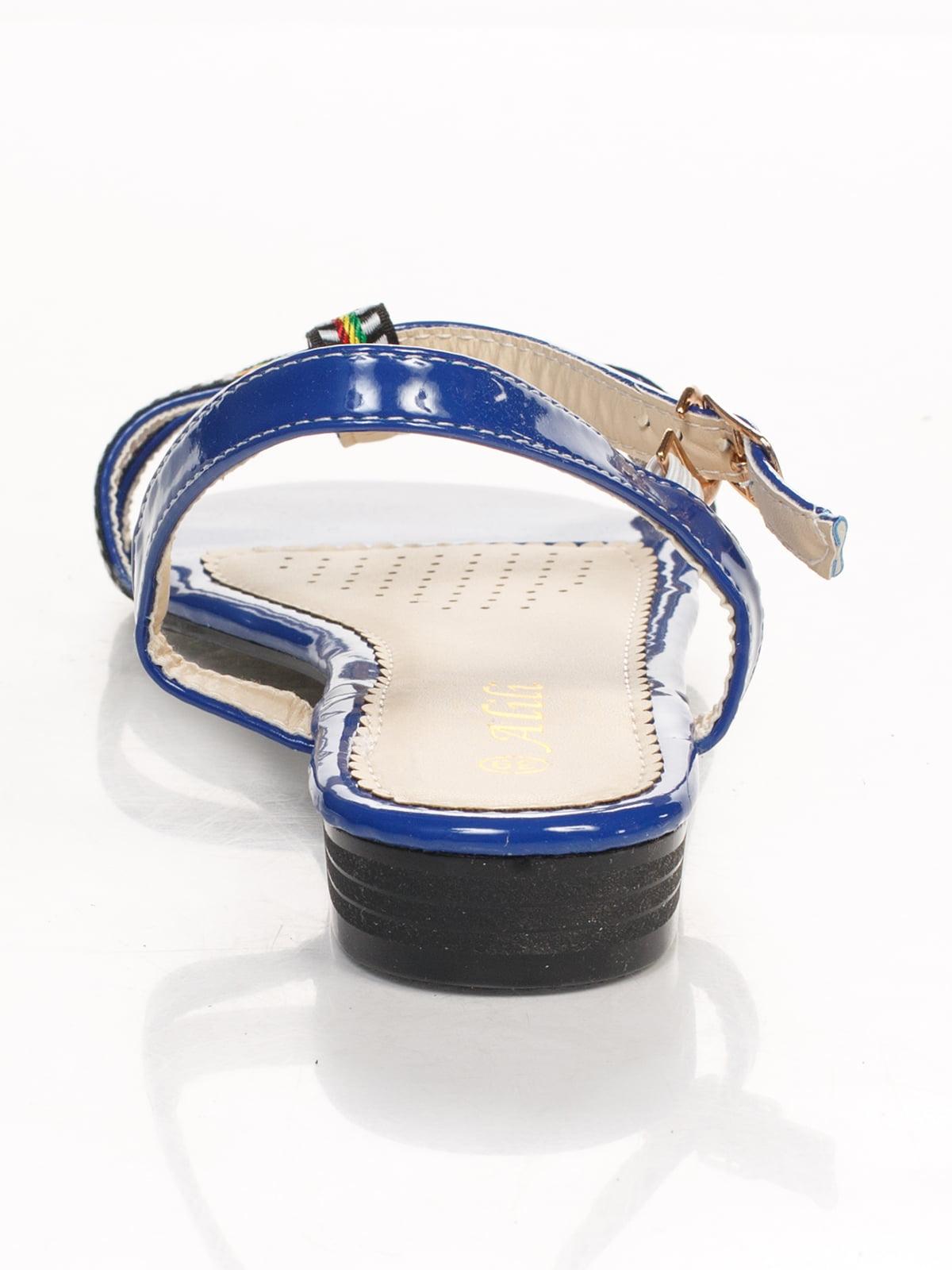 Сандалии синие с вышивкой | 4605216 | фото 3
