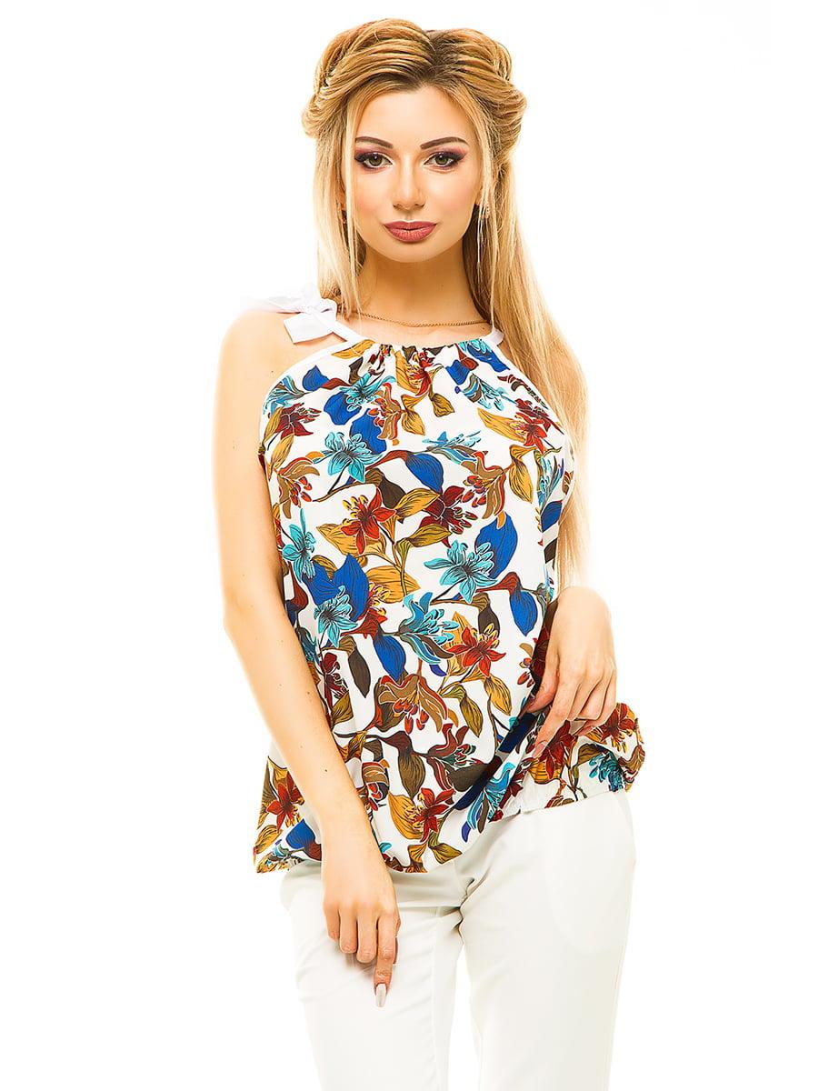 Блуза біла в квітковий принт | 4615669