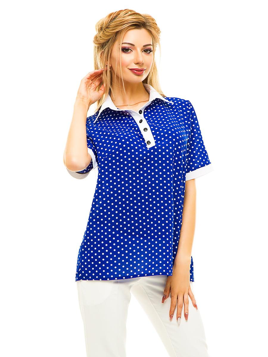Блуза кольору електрик в горошок | 4615684