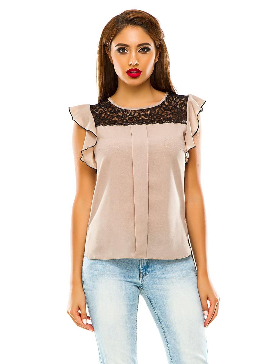 Блуза темно-бежева | 4615693