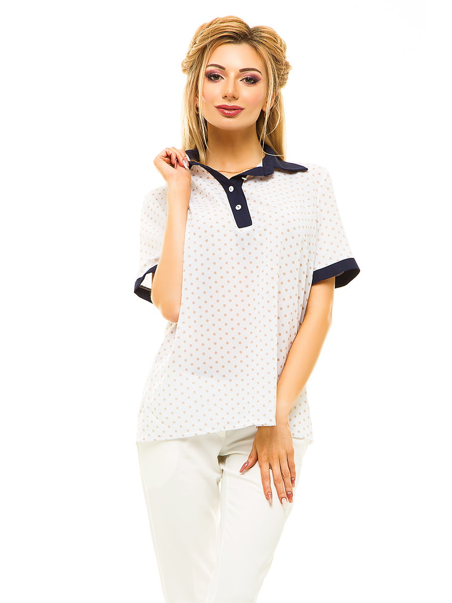 Блуза біла в горошок | 4615702