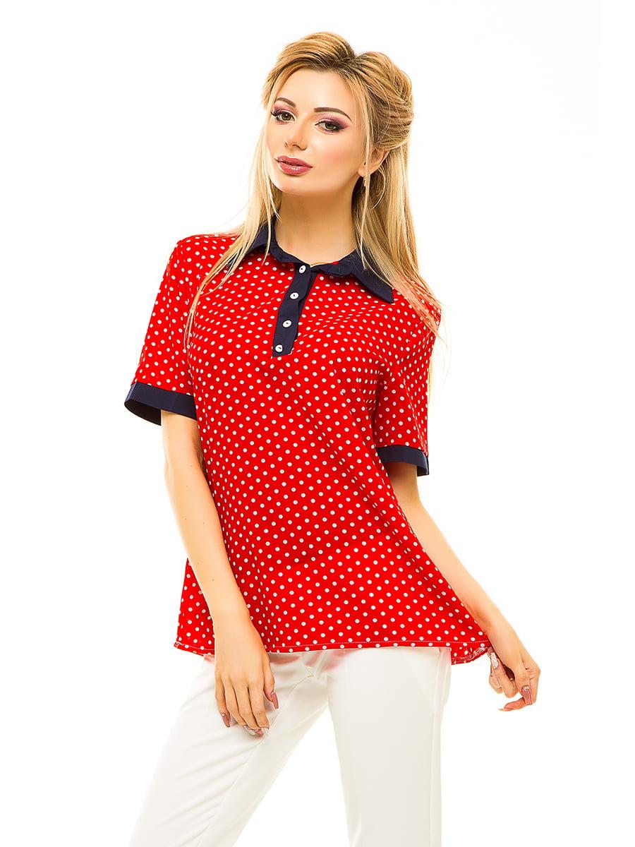 Блуза червона в горошок | 4615704