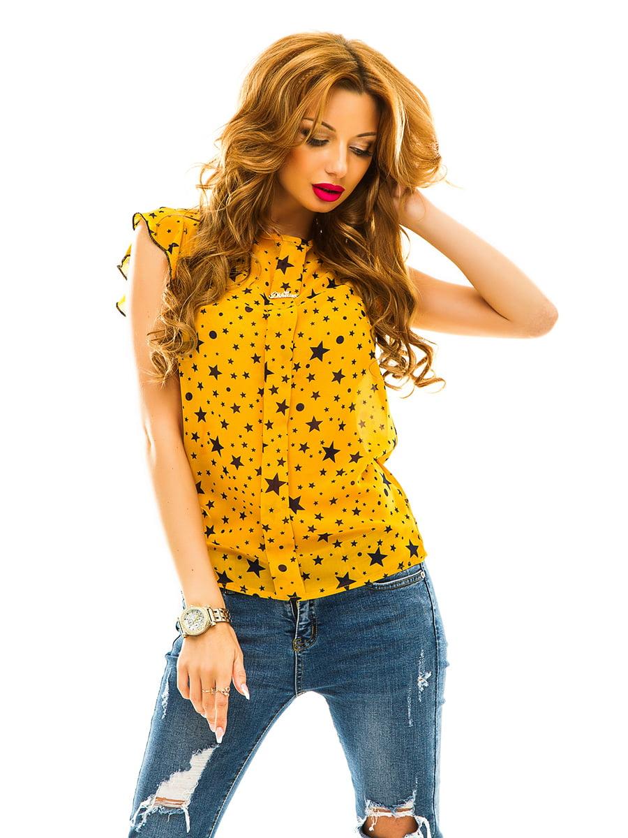 Блуза жовта в принт | 4615734