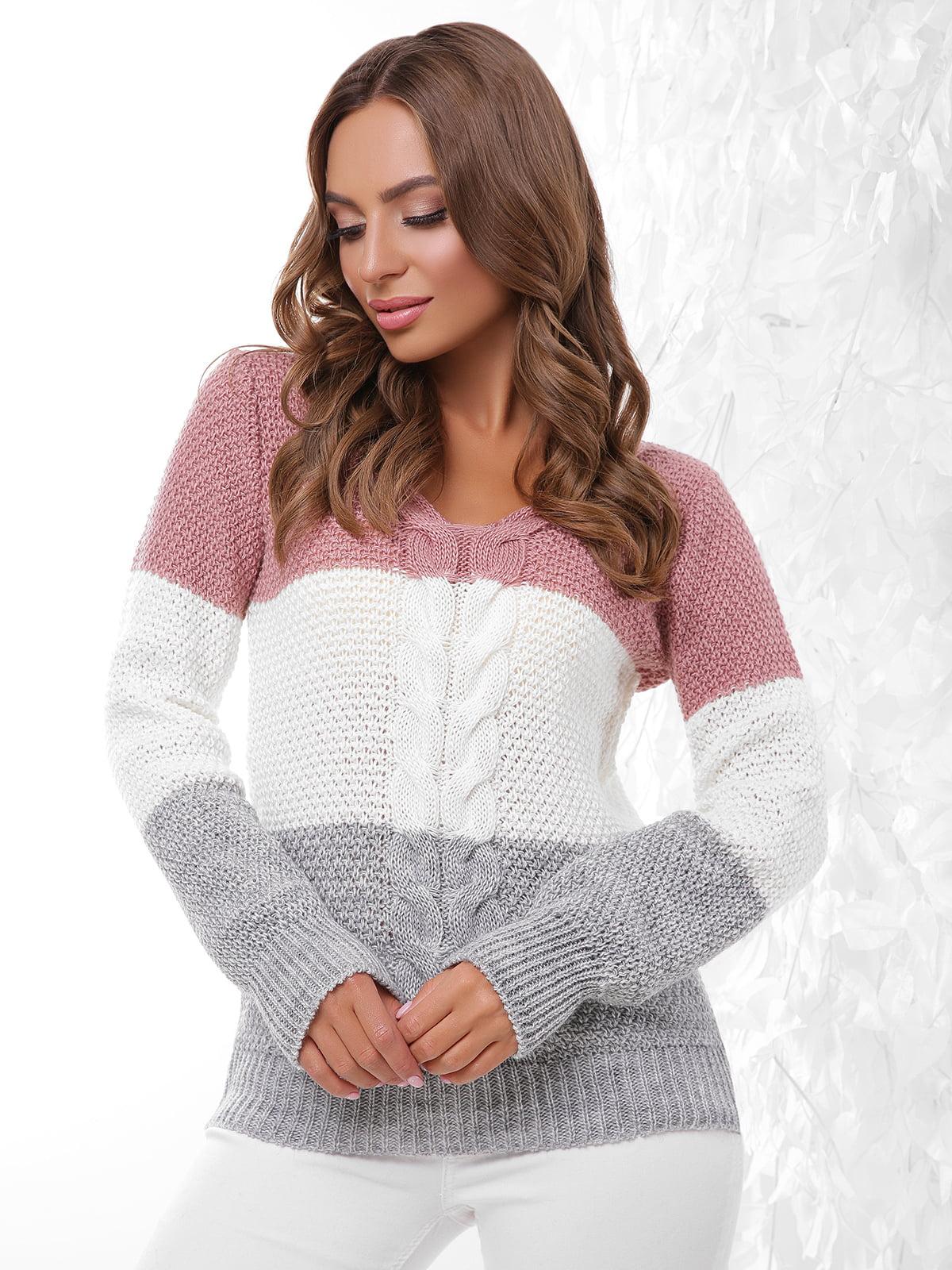 Пуловер трехцветный | 4614404