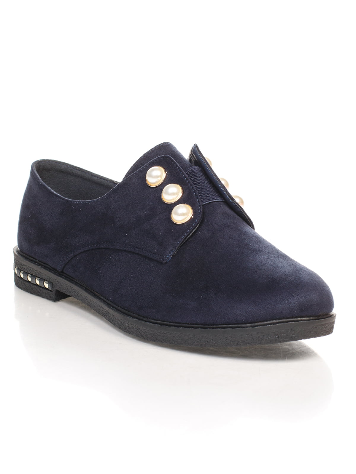 Туфли синие с декором | 4605868