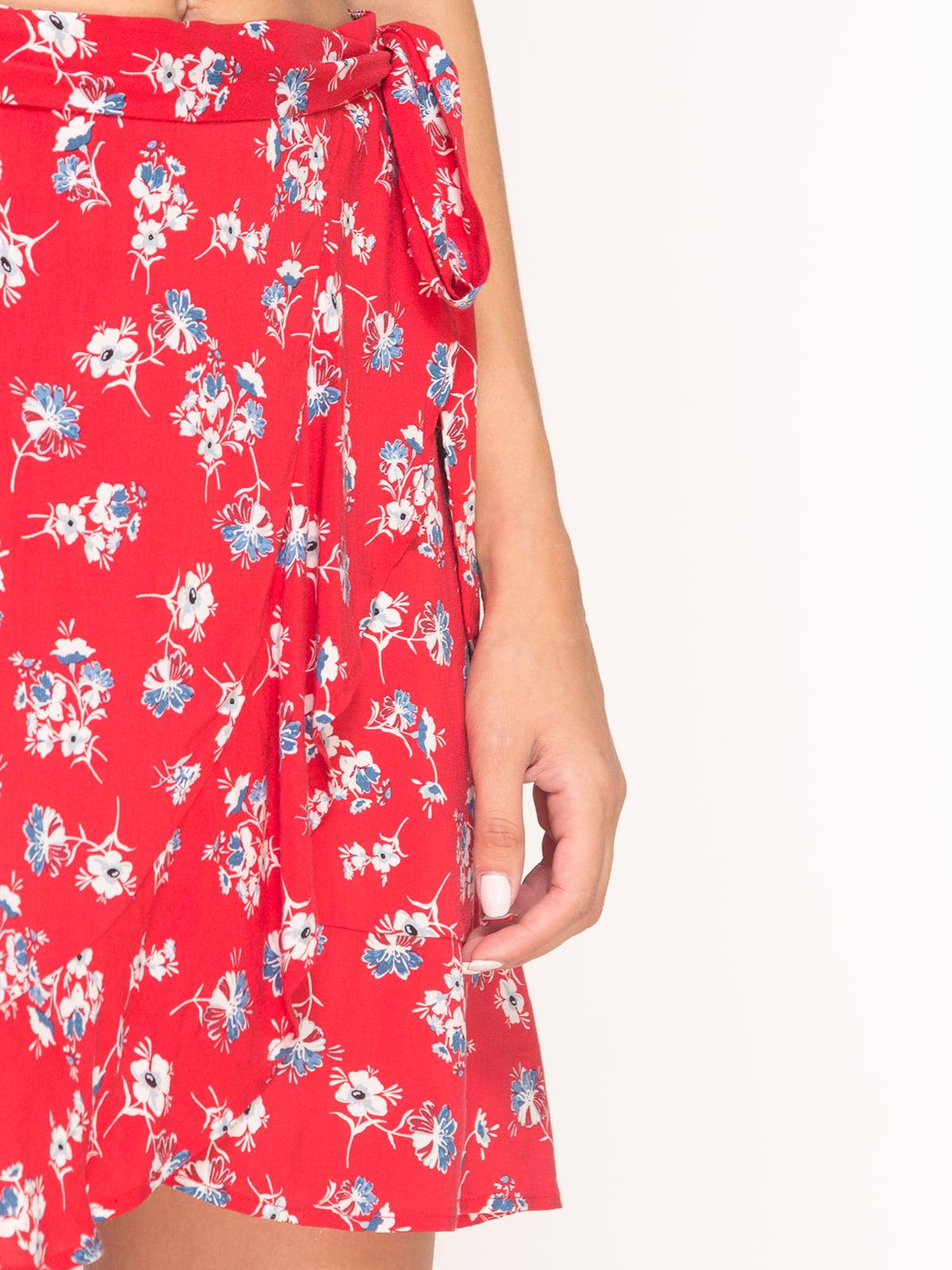 Юбка красная в цветочный принт | 4556851 | фото 4