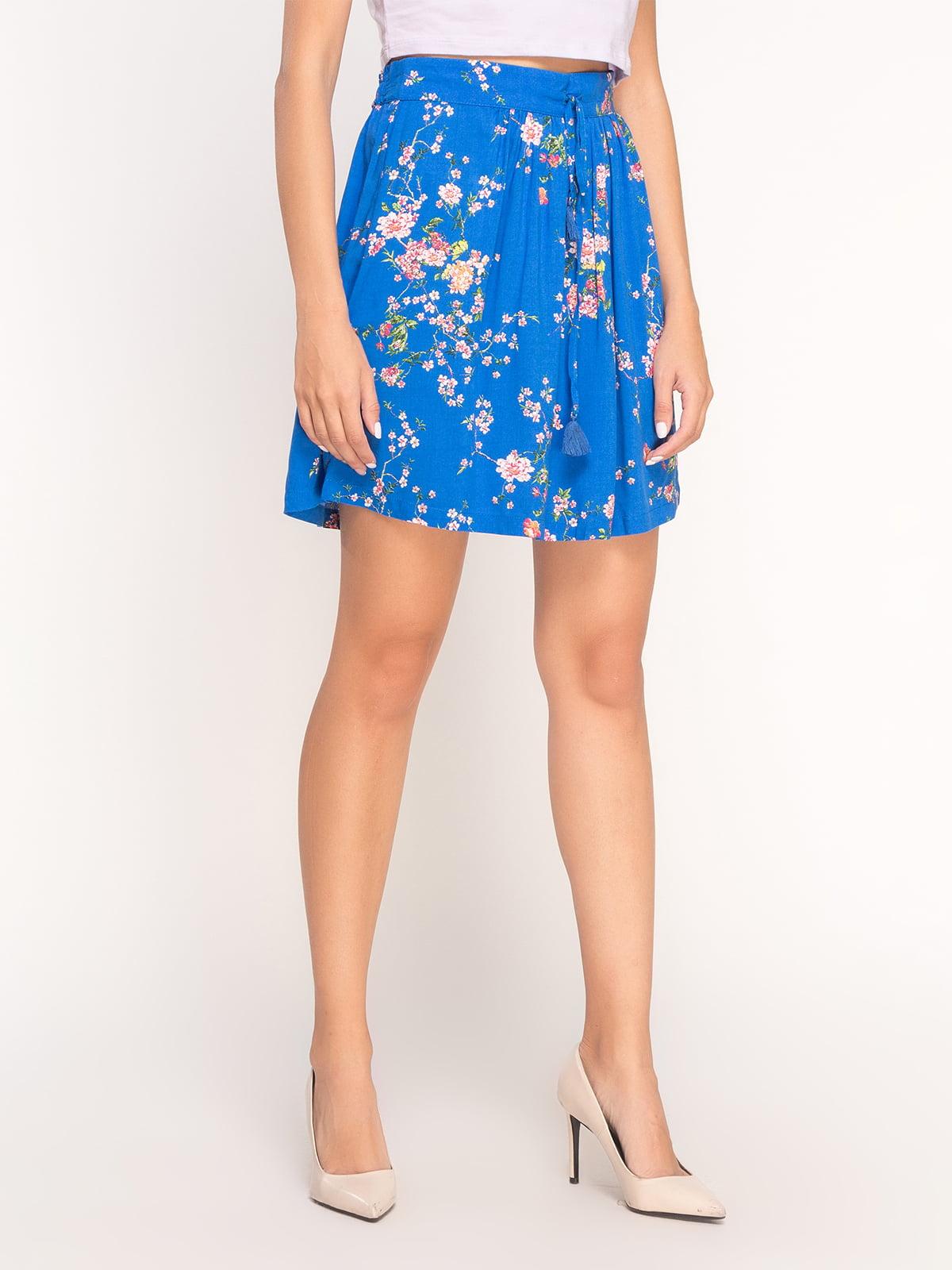 Юбка синяя в цветочный принт   4556797