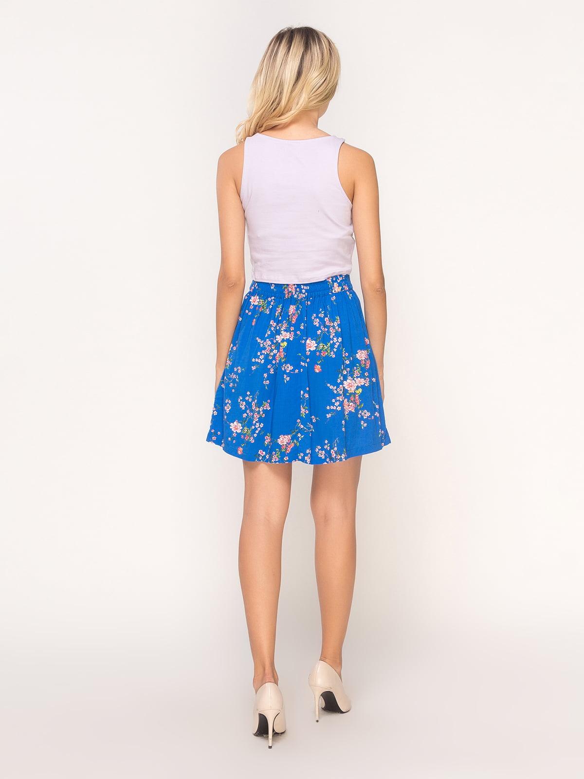 Юбка синяя в цветочный принт   4556797   фото 3