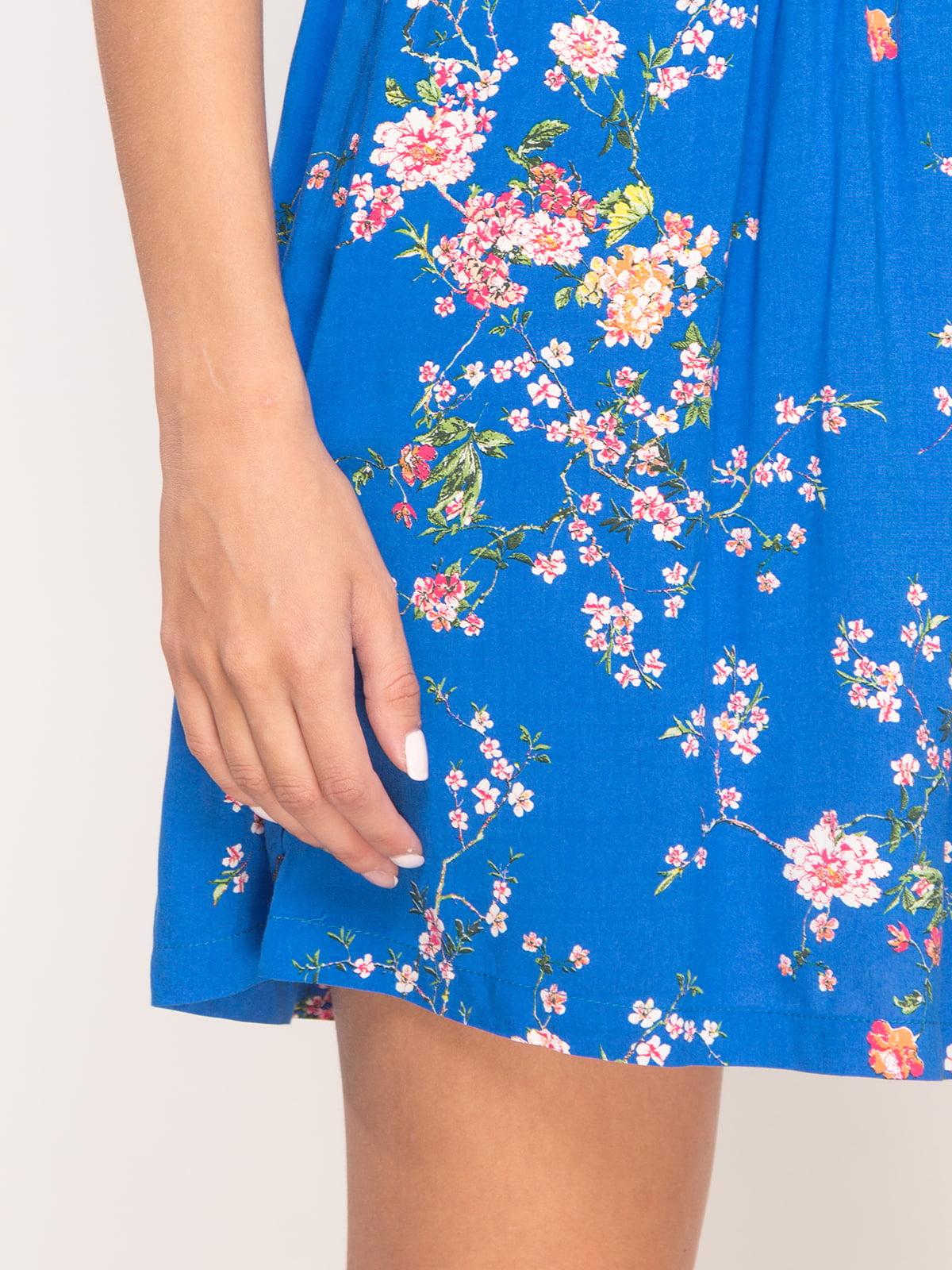 Юбка синяя в цветочный принт   4556797   фото 4