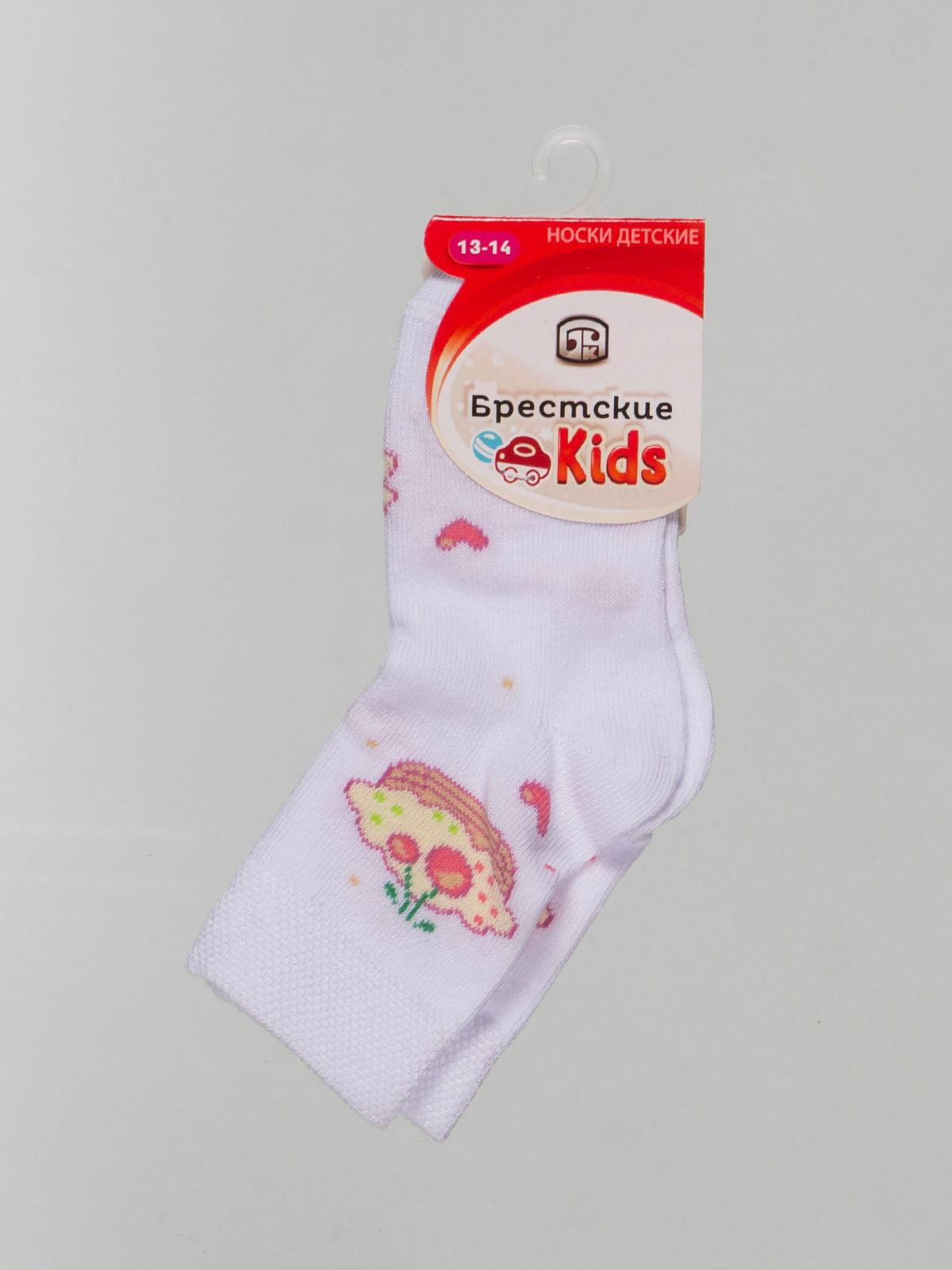 Шкарпетки білі з малюнком | 4604373