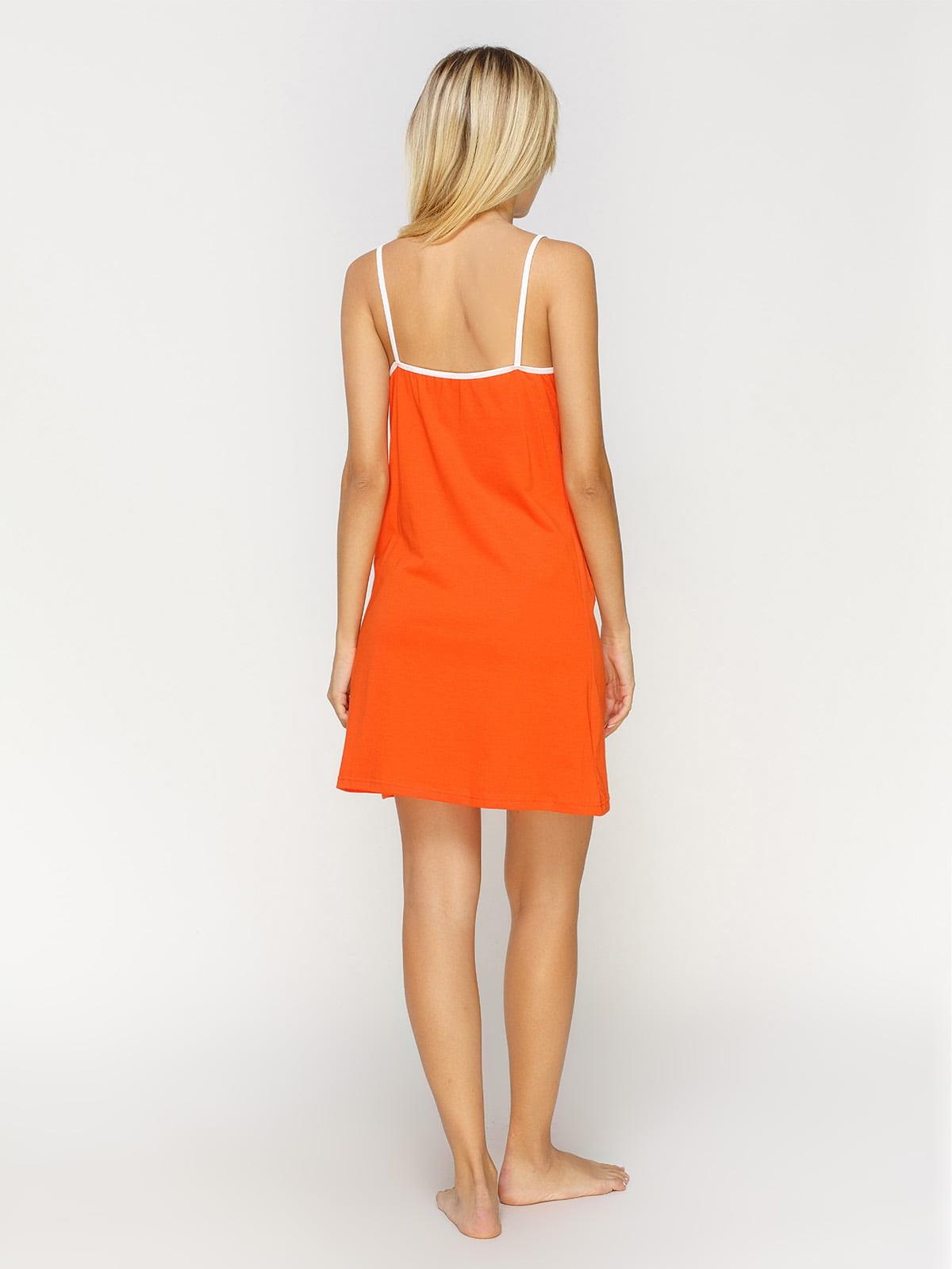 Рубашка ночная оранжевая с принтом   4611194   фото 2