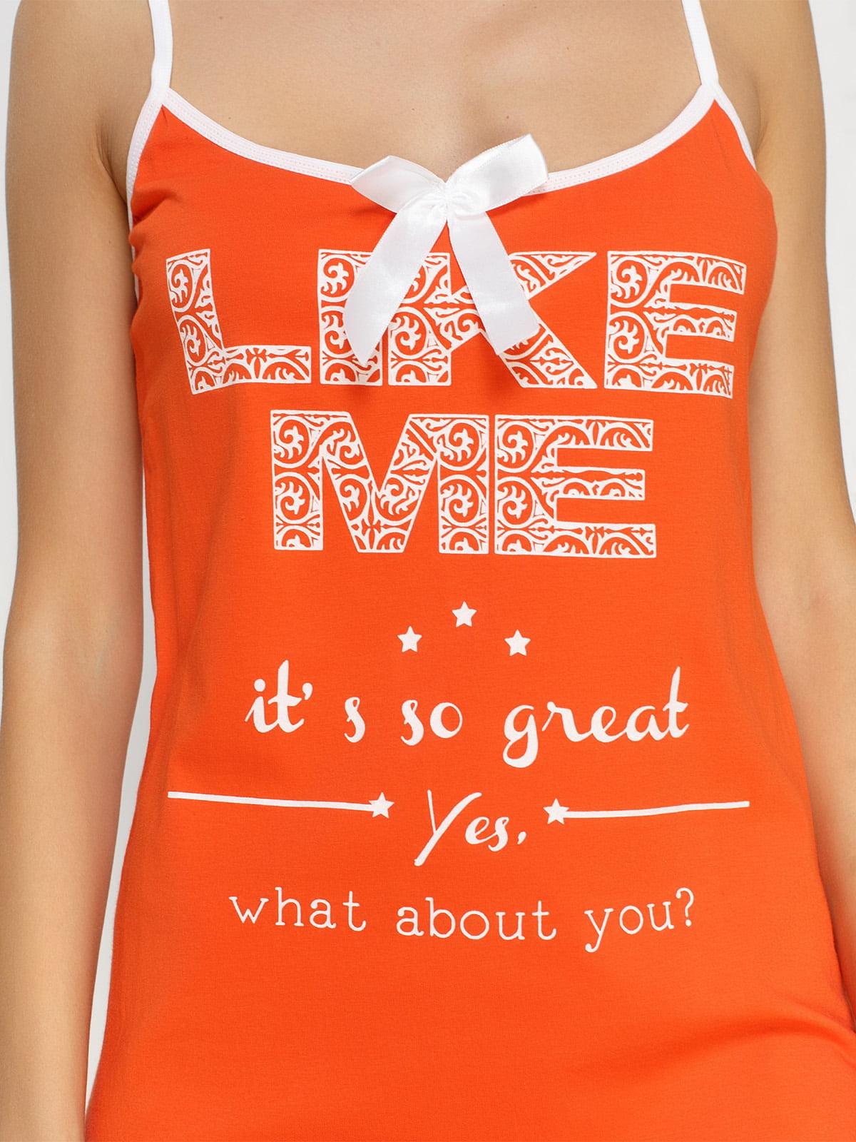 Рубашка ночная оранжевая с принтом   4611194   фото 3