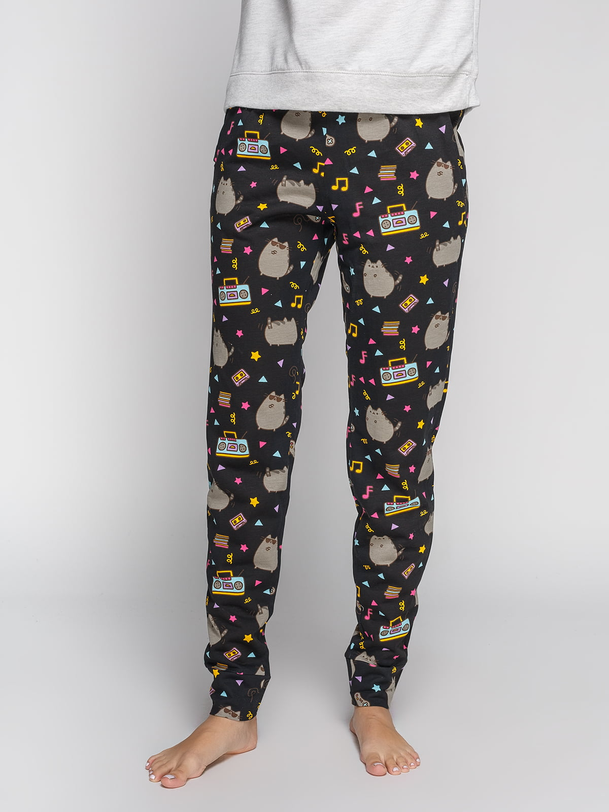 Брюки черные в принт пижамные | 4596771