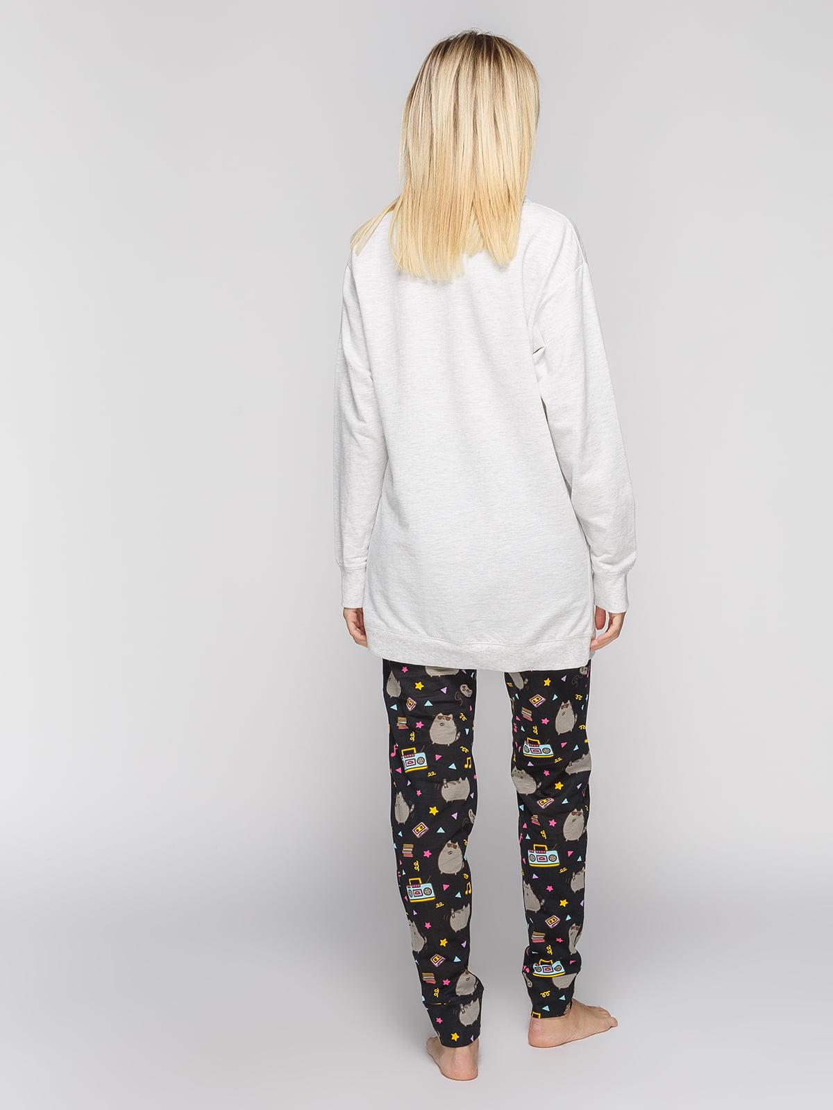 Брюки черные в принт пижамные | 4596771 | фото 3