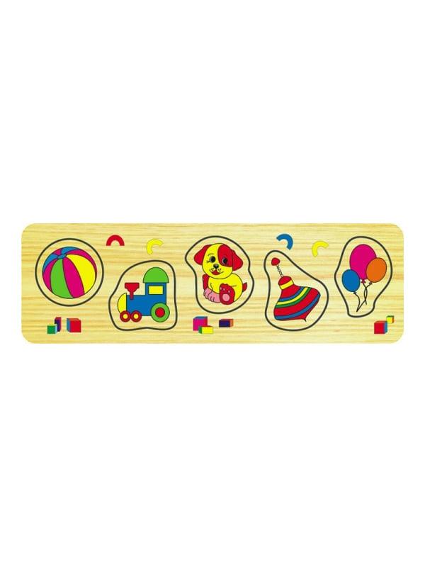 Розвивальна рамка-вкладиш з дерева «Іграшки малі» | 4635311
