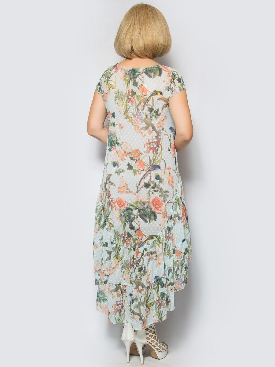 Платье голубое в цветочный принт | 4640158 | фото 2