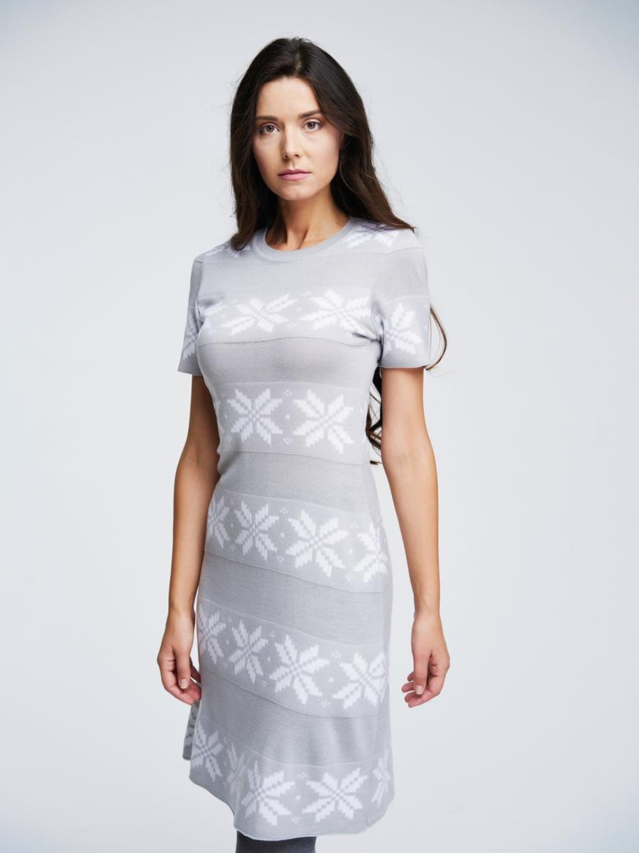 Сукня світло-сіра з орнаментом | 4643617 | фото 2