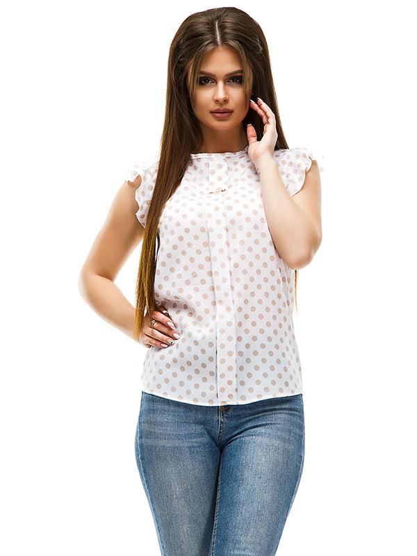 Блуза молочна в горошок | 4613768